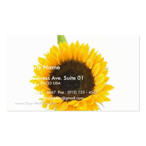 Sunflower On White Background Business Card Template