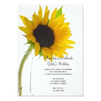 Sunflower on White Birthday Party Invitation
