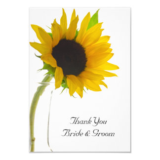 Sunflower on White Wedding Flat Thank You Notes Card