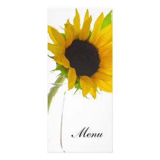 Sunflower on White Wedding Menu Rack Card