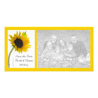 Sunflower on White Wedding Save the Date Personalised Photo Card
