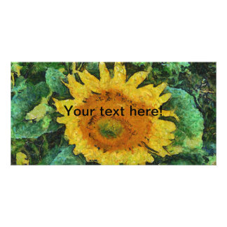 Sunflower painting personalized photo card