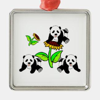 Sunflower Panda Bears Christmas Ornament