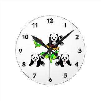 Sunflower Panda Bears Round Clock