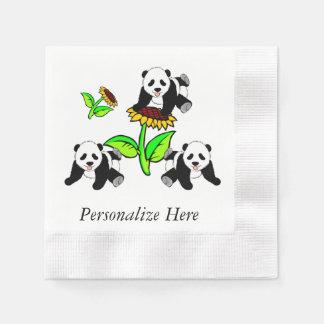 Sunflower Pandas Disposable Serviettes