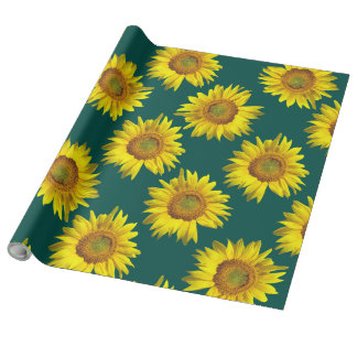 Sunflower Pattern Teal Gift Wrap Roll