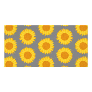 Sunflower Pattern Yellow and Gray Picture Card