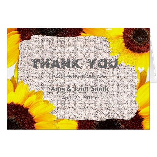 Sunflower personalised wedding thank you card