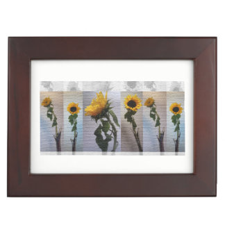 Sunflower Photo Art Collage Elegant Day Flowers Memory Boxes