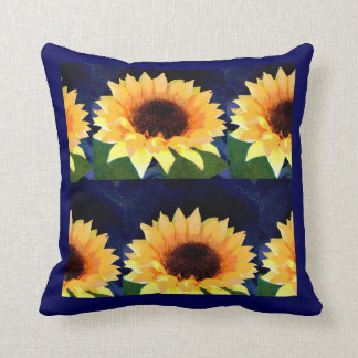 sunflower photo collage bright yellow and blue cushions