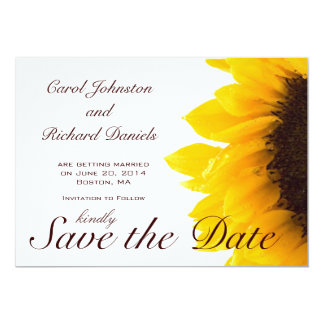 Sunflower Photo Floral Save the Date Card 13 Cm X 18 Cm Invitation Card