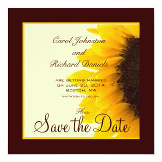 Sunflower Photo Floral Save the Date Cards 13 Cm X 13 Cm Square Invitation Card