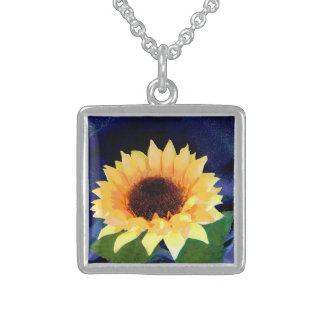 sunflower photo  necklace yellow and blue