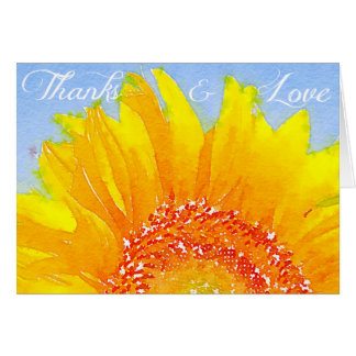 """Sunflower picture: """"Thanks and love"""". Card"""