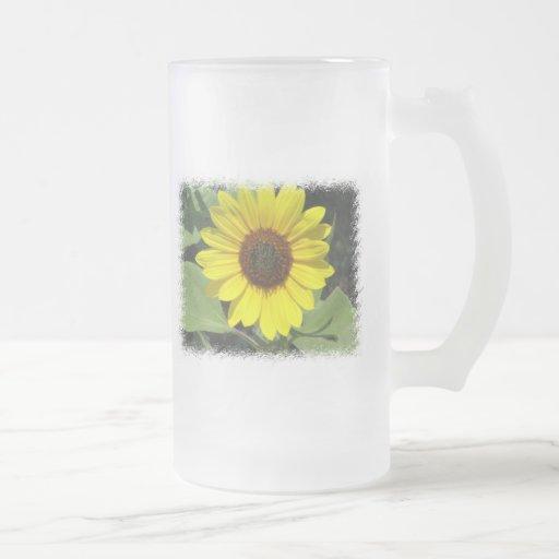 Sunflower Plant Frosted Beer Mug
