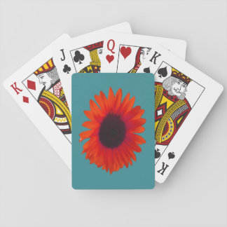 Sunflower Playing Cards (Orange and Teal)