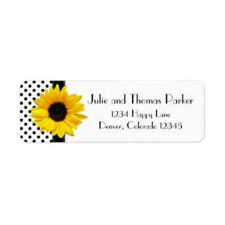 Sunflower Polka Dot Wedding Return Address Return Address Label