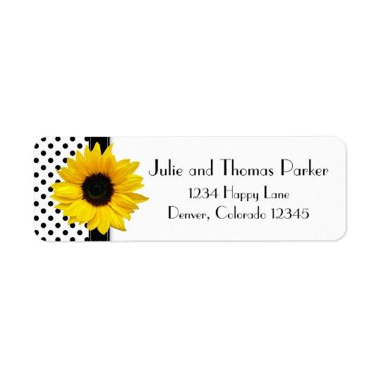 Sunflower Polka Dot Wedding Return Address Return Address Label