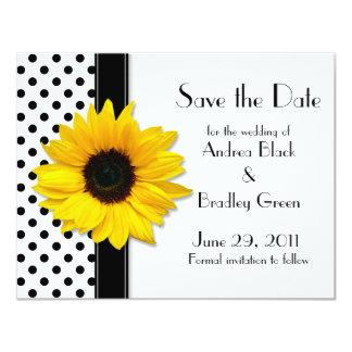 Sunflower Polka Dots Save the Date Card 11 Cm X 14 Cm Invitation Card