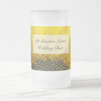 Sunflower Print Grooms Wedding Glass Frosted Glass Beer Mug