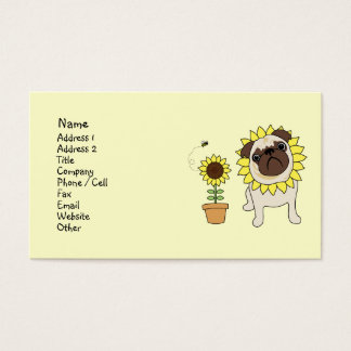 Sunflower Pug Business Cards