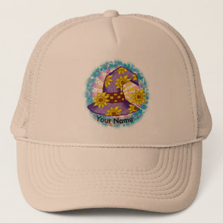 Sunflower Purple custom name Witch Hat
