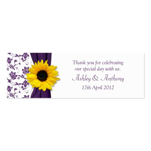 Sunflower Purple Damask Floral Wedding Favor Tags Business Cards