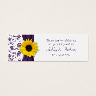 Sunflower Purple Damask Floral Wedding Favor Tags Mini Business Card