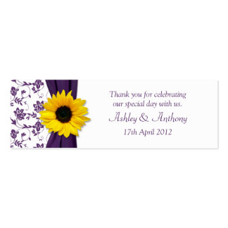 Sunflower Purple Damask Floral Wedding Favor Tags Pack Of Skinny Business Cards