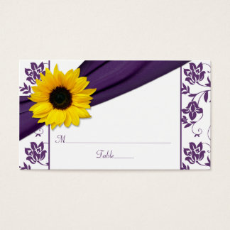 Sunflower Purple Damask Floral Wedding Place Cards