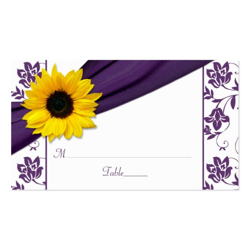 Sunflower Purple Damask Floral Wedding Place Cards Business Card Template
