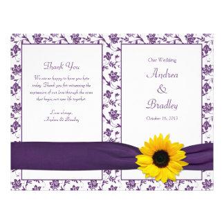 Sunflower Purple Damask Floral Wedding Program Flyer