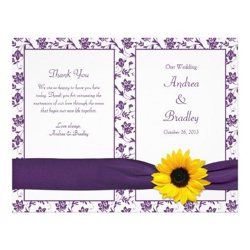 Sunflower Purple Damask Floral Wedding Program Full Color Flyer