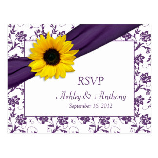 Sunflower Purple Damask Wedding RSVP Postcard