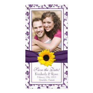 Sunflower Purple Floral Ribbon Wedding Save Date Card