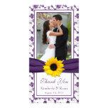 Sunflower Purple Floral Ribbon Wedding Thank You Customised Photo Card