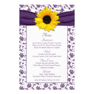 Sunflower Purple White Damask Wedding Menu Card