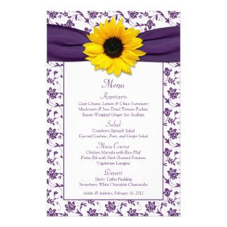 Sunflower Purple White Damask Wedding Menu Card 14 Cm X 21.5 Cm Flyer