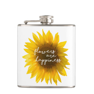 "Sunflower quote ""flowers are happiness"" hip flask"