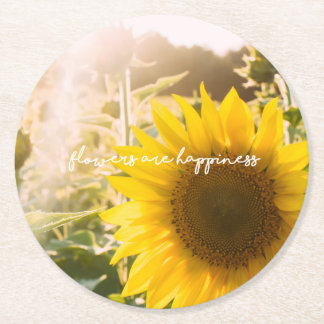 "Sunflower quote ""flowers are happiness"" round paper coaster"