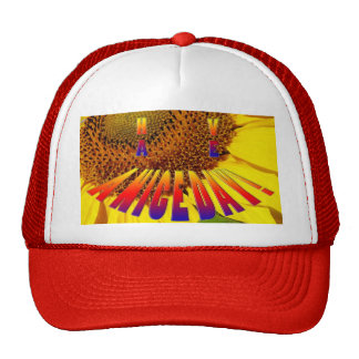 """sunflower/rainbow """"have a nice day"""" smiley hat"""