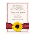 Sunflower Red Ribbon Damask Wedding Invitation