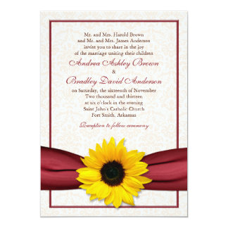 Sunflower Red Ribbon Damask Wedding Invitation
