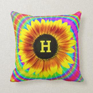 Sunflower Retro Tie Dye Flower Power Monogram Throw Pillow