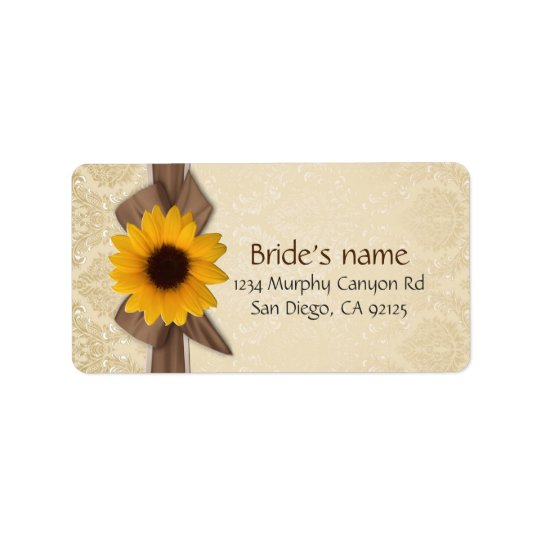 Sunflower Ribbon Gold Damaks Address Label
