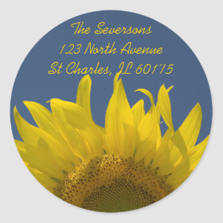 Sunflower Rising Return Address Classic Round Sticker
