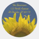 Sunflower Rising Return Address Round Sticker