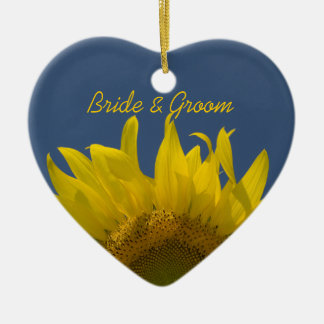 Sunflower Rising Wedding Christmas Ornament