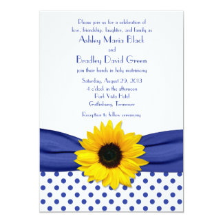 Sunflower Royal Blue White Polka Dot Wedding Card