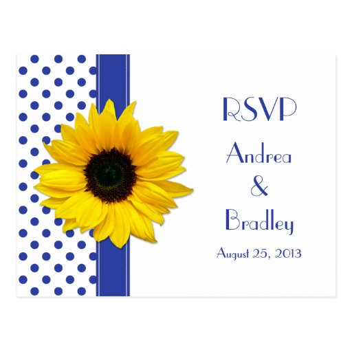 Sunflower Royal Blue White Polka Dot Wedding RSVP Post Card